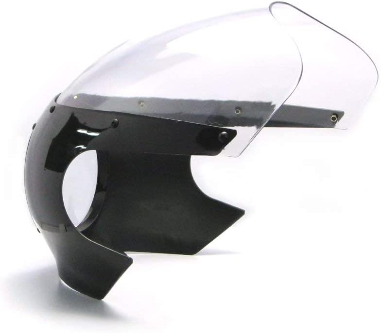 Vent Bouclier Id/éal pour Classique Caf/é Coureur Noir Universel Moto Car/énage Phare Capot avec Transparent /Écran