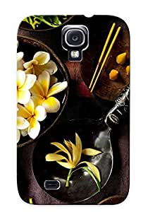 Crazinesswith High Quality Shock Absorbing Case For Galaxy S4-flowers On Plates