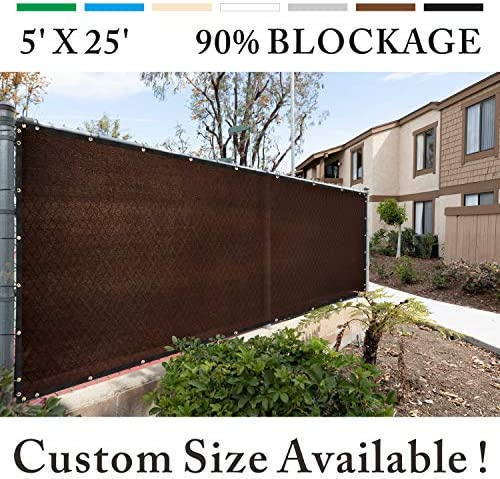 Royal Shade 5 x 25 Brown Fence Privacy Screen Windscreen Cover Netting Mesh Fabric Cloth – Cable Zip Ties Included – WE Custom Make Size