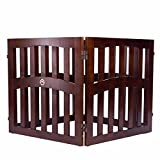 Cheap Elegant Home Fashions Molly Convertible Dog Gate with Ceramic Paw Accent, Walnut Finish, 32″ 4-Panel