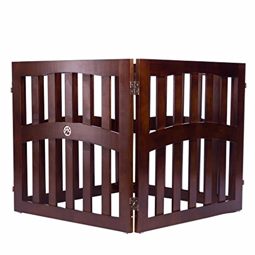 Elegant Home Fashions Molly Convertible Dog Gate with Ceramic Paw Accent, Walnut Finish, 32″ 4-Panel