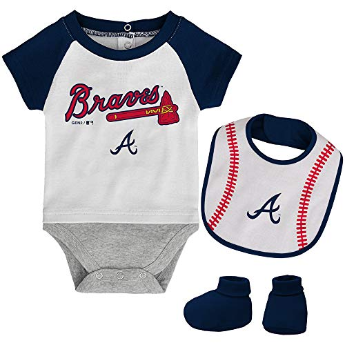 MLB Newborn Baseball Kid Bodysuit, Bib & Booties Set - White (0/3 Months, Atlanta Braves) -