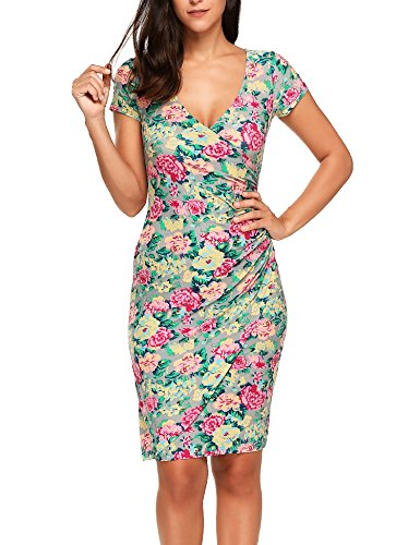 2 Floral Dress Bodycon Slim ACEVOG Floral Short Sheath Midi Sleeve Long Women's Pencil RccUPqw7