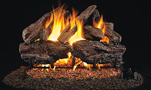 Real Fyre 30-inch Charred Red Oak Vented Gas Logs Bundled with G4 Burner Kit (Propane) (Vented Oak Propane Red)