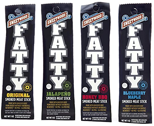 | All-Natural | Fatty Meat Stick | Nitrite-Free | Grass-Fed | Gluten-Free | Variety Pack | 1oz (4 Count) ()
