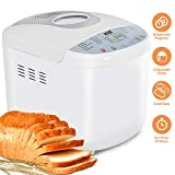 KBS Full Automatic Bread Maker 2LB, Multi-Use 19 Programs Bread Machine, 360° Double Tube Bake with Ceramic Pan, 3 Loaf Sizes 3 Crust Colors Digital Screen, 15hrs Delay Time 1h Keep Warm, ETL Approved Larger Image