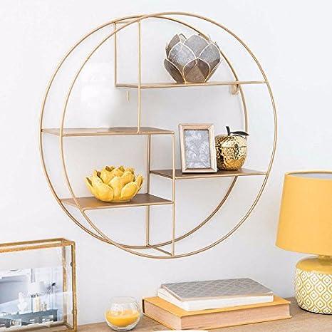 Nordic sala repisa estantería circular de hierro forjado ...