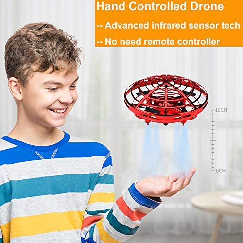 BOMPOW Drones for Kids Mini Drones Hand Controlled Flying Ball Drone Toys with 2 Speed and LED Light for Kids, Boys and Girls Gift (Red)