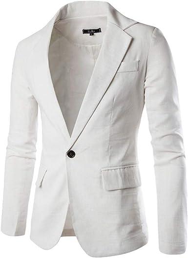 MrTom Chaquetas de Traje Casual para Hombre Slim Fit Trajes de Vestir Un Botón Blazer de Negocios Boda Fiesta Chaquetas de Esmoquin Formal Elegante Camisas Abrigo Tops Algodón Sólido Color: Amazon.es: Ropa