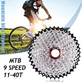 9-Speed Mountain Bike 11-40T Black and Silver Bicycle Cassette Flywheel by ZTTO