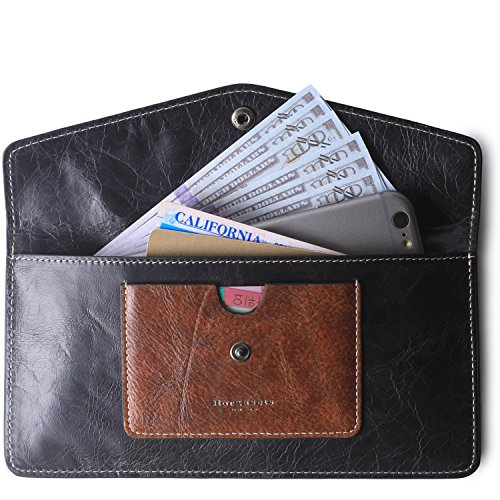 Borgasets Women's Wallet Leather RFID Blocking Ultra-thin Envelope Ladies Purse Travel Clutch with ID Card Holder and Phone Pocket (Gray)