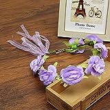 Beach Girls Flower Hair Bands Garlands Lace Up Headband Bride Floral Headwear for Women Hair Accessories Purple Free Size