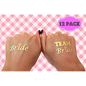 [12 Pack] Bachelorette BRIDE and TEAM BRIDE Temporary Tattoos - Gold Shiny Metallic Flash Tattoos - Bachelorette Party Supplies Ideas Accessories Favors