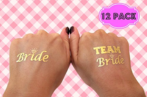 te BRIDE and TEAM BRIDE Temporary Tattoos - Gold Shiny Metallic Flash Tattoos - Bachelorette Party Supplies Ideas Accessories Favors (Free Flash Tattoos)