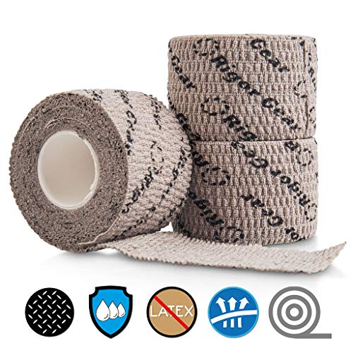 Stretchy Sticky Lifting Athletic Tape - Rigor Gear Flexible Cotton Sports Weightlifting Tape - Premium Finger Tape - Self Adhesive, Use for Boxing, Climbing, Crossfit Tape (Grey, 1 Roll)