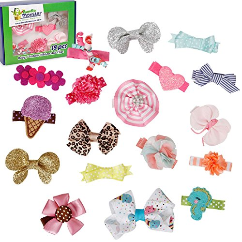 Bundle Monster 18pc Ribbon Bow Flower Mixed Design Baby Girl Toddler Hair Clips - Set 2