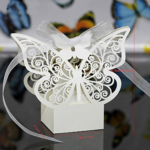 Candy Box (50pcs) PAMISO Laser Cut Pearl Paper Party Wedding Favor Party Ribbon Gift Box (Butterfly)
