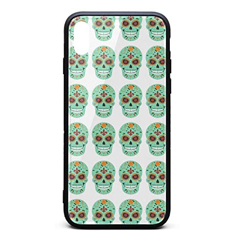 Phonerebey iPhone Xs Max Case,Smiling Flower Sugar Skull Anti-Scratch Shockproof Slim Cover Case Compatible with Apple iPhone Xs Max Case,TPU and Tempered Glass