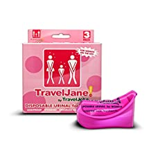 TravelJohn Disposable Urinal Packs for Women, 4.75 x 2 x 4.38-Inch, Pink