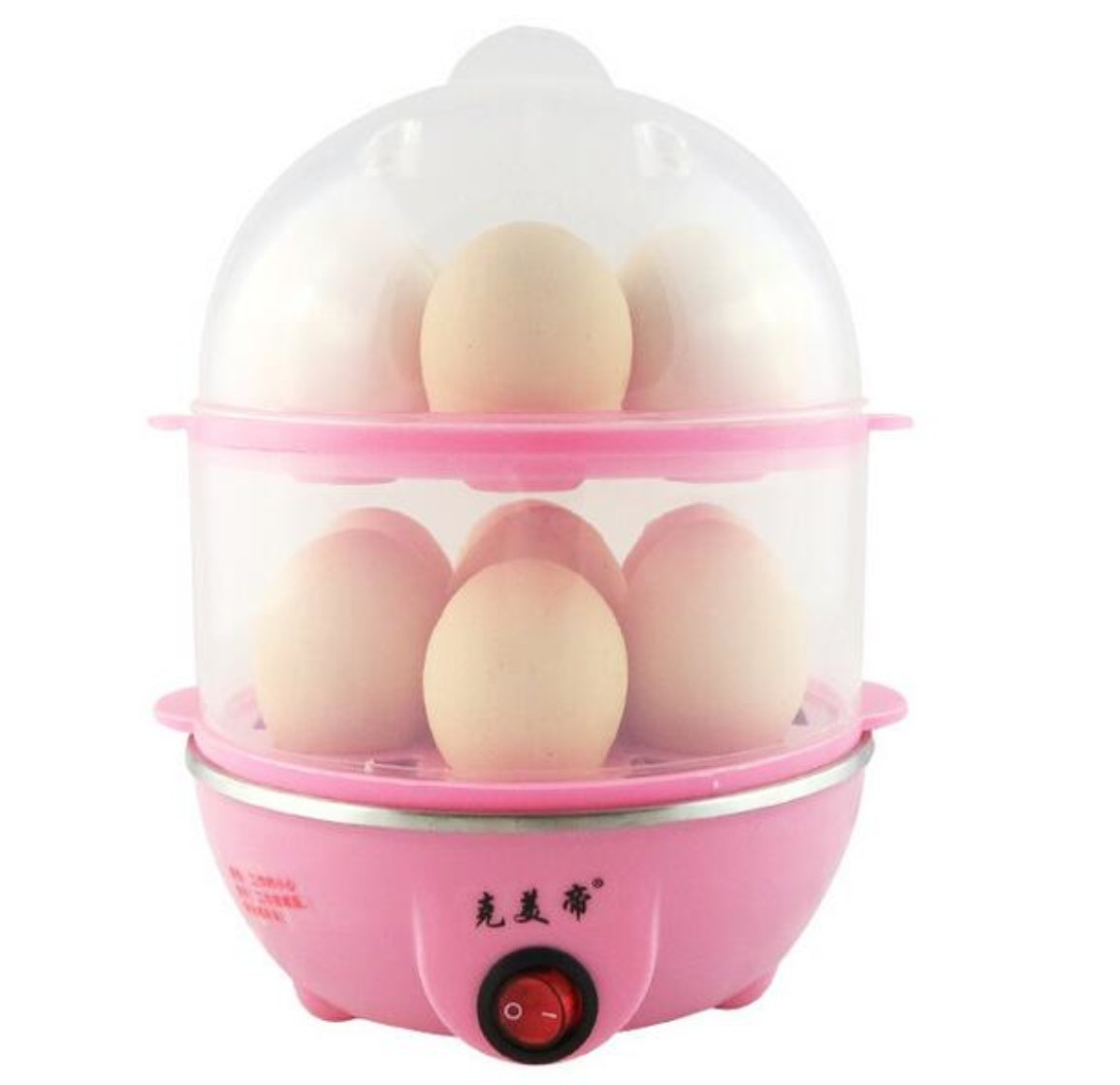 Multi-Function Electric 2 Layers Egg Cooker for Boiling Eggs, Steaming Food and More (Pink)