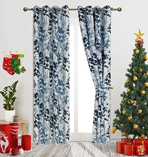 Gold Dandelion Blue Digital Print Leaves Fashion Design Curtains Contemporary Botanic Floral Style Blackout Curtain Panels for Living Room Window Treatment for Bedroom Grommet Top 52 W X 95 L 1Pair