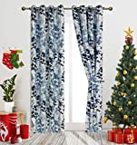 Gold Dandelion Blue Digital Print Leaves Fashion Design Curtains Contemporary Botanic Floral Style Blackout Curtain Panels for Living Room Window Treatment for Bedroom Grommet Top 54″ W X 95″ L 1Pair For Sale