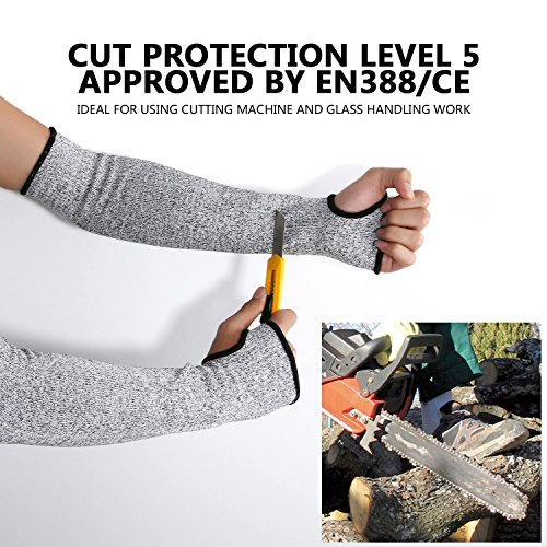 Cut Resistant Sleeves with Thumb Hole, Level 5 Protection, Slash Resistant Safety Protective Arm Sleeves, 14 inch long, Large (Arm width 4-8 inch) sold by Pair(2 Pieces) by G & F Products (Image #5)