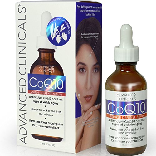 Advanced Clinicals COQ10 Wrinkle Defense Face Serum with Jojoba Oil. 1.8oz