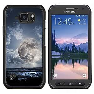 Caucho caso de Shell duro de la cubierta de accesorios de protección BY RAYDREAMMM - Samsung Galaxy S6Active Active G890A - Planeta extranjero Mundial Luna visión cercana Cielo Azul