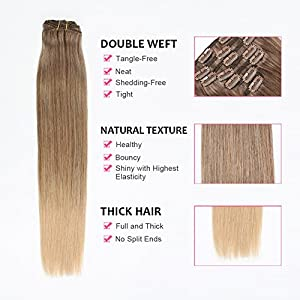 AmazingBeauty 8A Grade Ombre Real Human Hair Clip in Extensions Sombre(Subtle and Soft Ombre) T4M18 Chocolate Brown Fading into Dirty Blonde 20 Inch 130 Gram 7 Pieces Double Weft Full Head