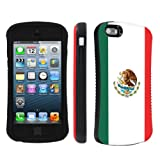 Apple iPhone 5 or 5S Ultra Shock Absorbent Tough Grip Black Case By SkinGuardz - Mexican Flag