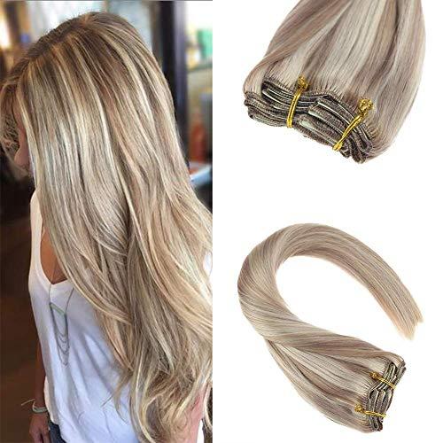 Sunny 14inch Clip in Blonde Hair Extensions Human Hair Dark Ash Blonde Highlight Bleach Blonde 7 pieces 120G Remy Human Hair Extensions Clip in Full Head