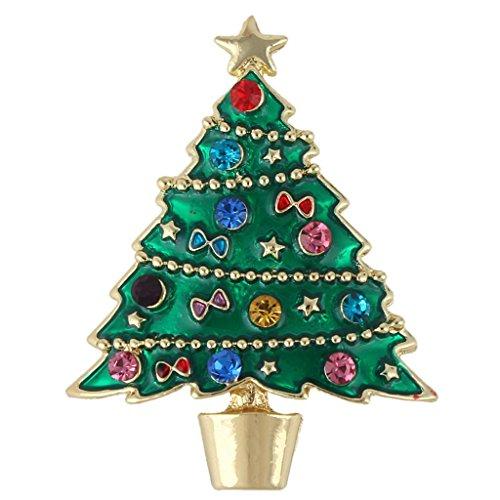 Green Enamel Christmas Tree (EVER FAITH Star Bowknot Green Wishing Tree Brooch Austrian Crystal Enamel Gold-Tone)