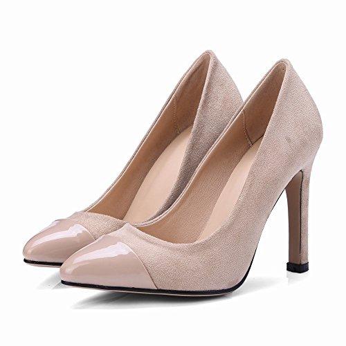 Carolbar Women's Contrast-Stitching Fashion High Heel Evening Court Shoes Beige 9S8LME33Q