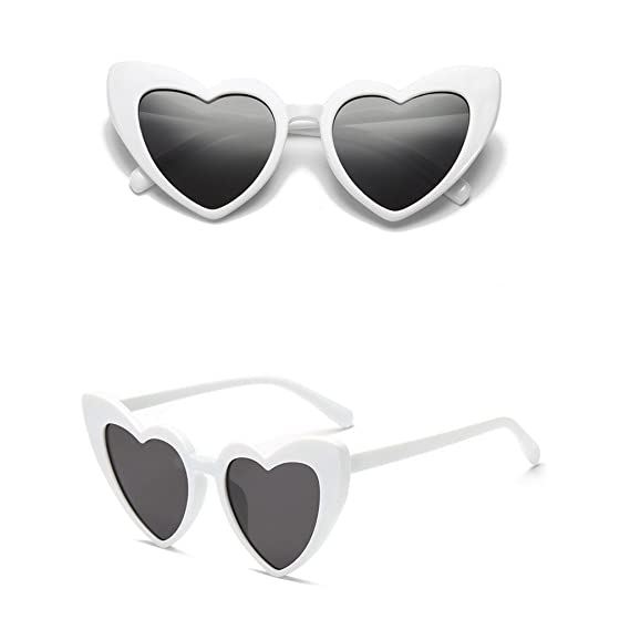 Harpily Polarizadas Gafas de Sol Mujer Forma de corazon Espejo Protección para Viajar Conducir Sombra Moda Retro
