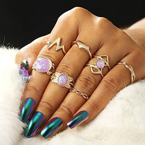 PAPPET Opal Knuckle Ring 7Pcs/Set Vintage Opal Stackable Finger Rings Set For Women Boho Geometric Pattern Crystal Purple Heart Rings Party Bohemian Jewelry