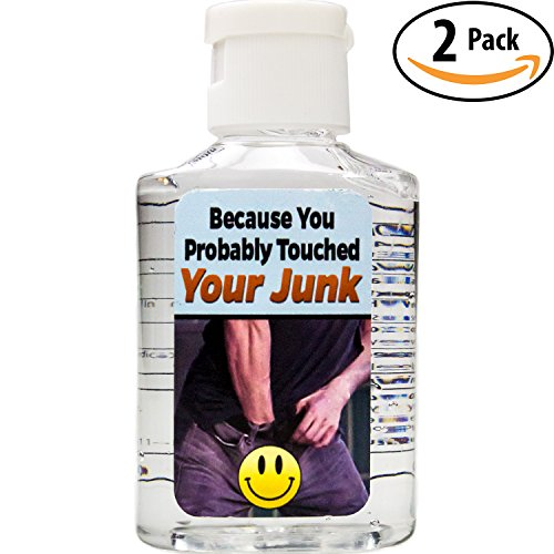 Witty Yeti's Because You Probably Touched Your Junk Hand Sanitizer 2 Pack. I Don't Know Where Your Hands Have Been! Hilarious Travel Size Bottles Are a Funny Gag Gift Idea & Adult Stocking Stuffer