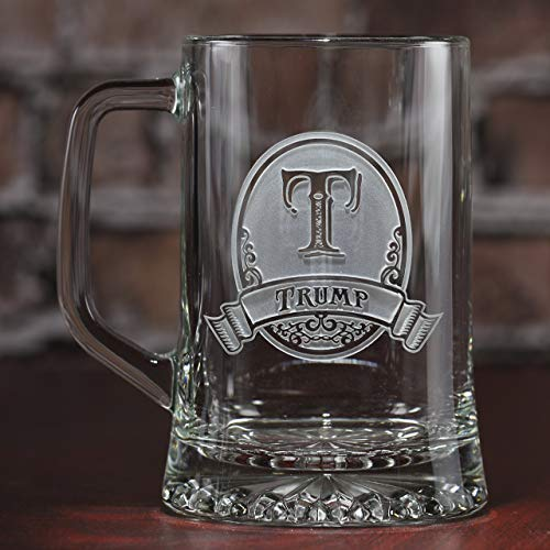 Personalized, monogrammed beer mugs SET OF 2 (M8) by Crystal Imagery Engraved Glass Gifts