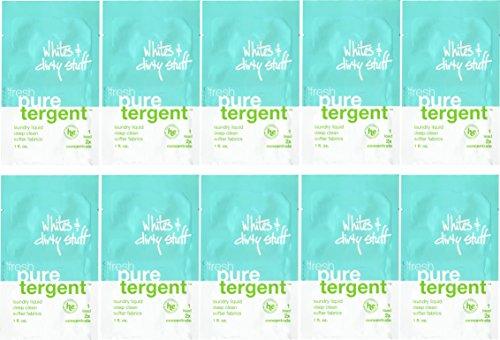 Puretergent - Fresh Laundry Liquid with Eucalyptus, Whites & Dirty Stuff (1oz Travel Size), Pack of 10