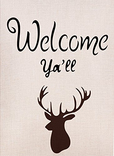 Dyrenson Deer Garden Flag Double Sided Welcome Yall Quote Home Decorative, Antler House Yard Flag, Vintage Garden Yard Decorations, Rustic Vertical Holiday Seasonal Outdoor Flag 12 x 18 ()
