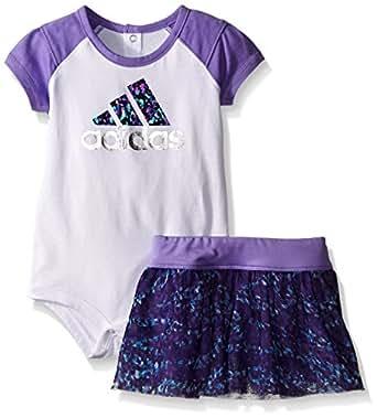 adidas Baby Girls' Bodysuit and Short Set, White, 6 Months
