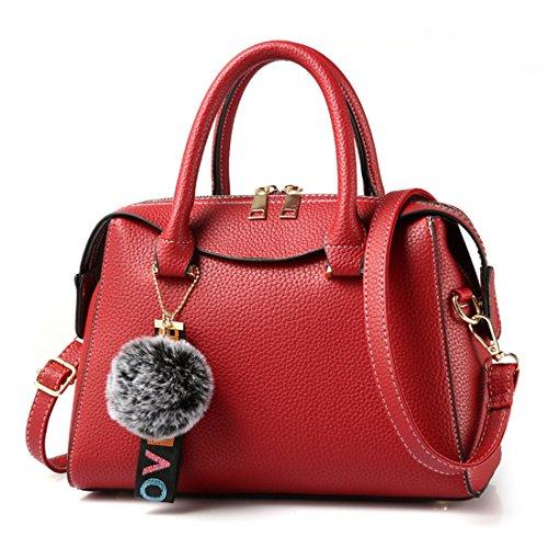 Luckywe Moda ricamo spalla design impermeabile in pelle fatti a mano bauletto Messenger Tote Hobo Rosso