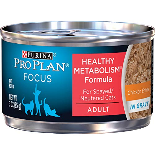 Purina Pro Plan High Protein Gravy Wet Cat Food, FOCUS Healthy Metabolism Formula Chicken Entree – (24) 3 oz. Pull-Top…