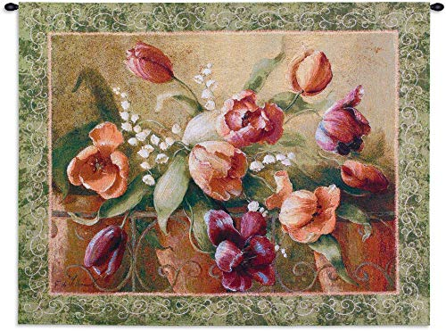 Fine Art Tapestries Terrace Tulips Wall Tapestry 3998-WH 45 inches wide by 32 inches long, 100% cotton ()