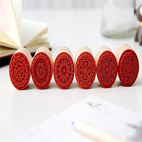 Ruikey Wooden Stamper Stamp Floral Round Handwriting Craft for Scrapbook Card Making 6pcs by Ruikey (Image #3)