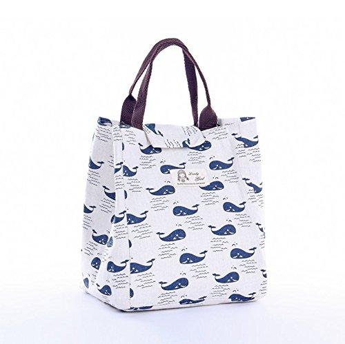 Ulooie New portabilità tela del fumetto della borsa a mano all' aperto picnic Storage Bag (Whale modello)