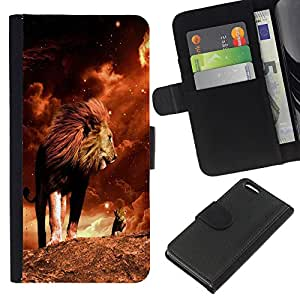 Planetar® Modelo colorido cuero carpeta tirón caso cubierta piel Holster Funda protección Para Apple iPhone 5C ( León Mane oro Sahara África Potente )