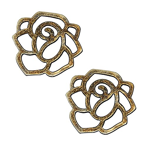 CHARM CONNECTOR COMPONENT Flower ROSE CUT-OUT 20mm ~ 10pc (Antique - Rose Connector