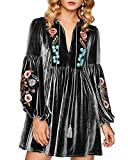 Aofur Women Bohemian Vintage Embroidered Velvet Spring Shift Mini Dress Long Sleeve Casual Tops Blouse (XXXX-Large, Grey)