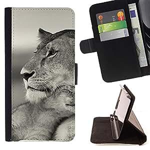 BullDog Case - FOR/HTC One M9 / - / baby mother cub lion cute black white /- Monedero de cuero de la PU Llevar cubierta de la caja con el ID Credit Card Slots Flip funda de cuer